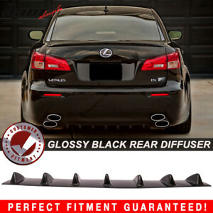 Fits 06 13 Is250 Is350 Isf V1 Style Rear Bumper Lip Diffuser 7fin Gloss Black