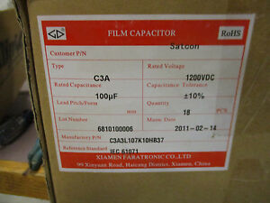 Xiamen 18 Film Capacitors 1200vdc 100uf Film Capacitors New