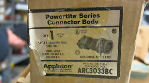 Appleton Arc3033bc 30 Amp 3 Pole 600 Volt Pin Sleeve Connector New
