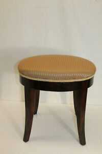 Lovely Regency Style Oval Maple Piano Bench Vanity Stool New Upholstery