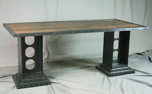 Modern Industrial Desk Girder Legs Reclaimed Wood And Steel Vintage