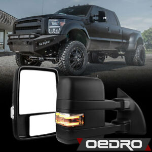 Trailer Tow Mirrors For 03 07 Ford F250 F350 Super Duty Manual Running Light