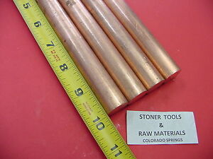 4 Pieces 3 4 C110 Copper Round Rod 10 Long H04 Solid Cu New Lathe Bar Stock