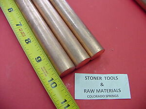 3 Pieces 3 4 C110 Copper Round Rod 10 Long H04 Solid Cu New Lathe Bar Stock