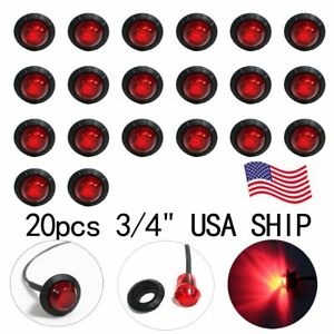 20 New 3 4 Red Led Clearance Marker Bullet Truck Trailer Lights Lamp Us Stock