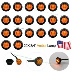 20 New 3 4 Amber Led Clearance Marker Bullet Truck Trailer Lights Lamp Us Stock