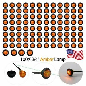 100 3 4 Amber 12v Led Clearance Marker Bullet Truck Trailer Light Lamp Us Stock