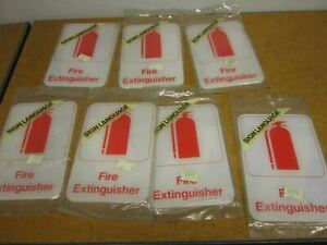 Sign Language Graphic Systems From Americraft Fire Extinguisher Signs lot Of 7