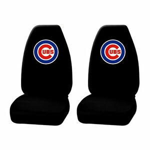 New 2 Piece Mlb Chicago Cubs Black Front High Back Seat Covers Universal Fit Set