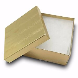 Us Seller lot Of 100 Pcs 3 3 4 x3 3 4 x2 Gold Foil Cotton Filled Jewelry Boxes