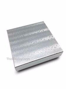 Us Seller 100 Pcs 3 1 2 x3 1 2 x1 Silver Cotton Filled Jewelry Gift Boxes