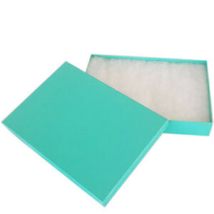 Sale Lot Of 100 Pcs 8 1 8 x5 5 8 x1 3 8 Teal Green Cotton Filled Jewelry Boxes