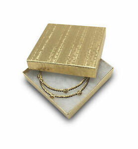 Us Seller lot Of 25 Pcs 3 3 4 x3 3 4 x2 Gold Foil Cotton Filled Jewelry Boxes