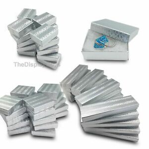 Us Seller 50 Pcs 3 1 2 x3 1 2 x1 Silver Cotton Filled Jewelry Gift Boxes