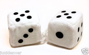 White Fuzzy Car Dice 2 5 X 2 5
