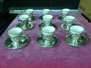 9 Sterling Silver Cups And Saucers W Lenox Porcelain Inserts 24 66 Troy Oz