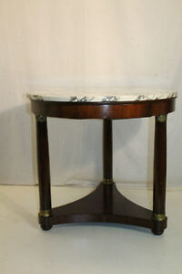 Great French Empire Mahogany Round Marble Top Side End Table One Drawer