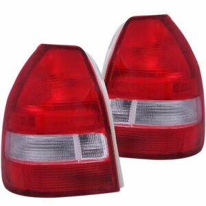 For 1996 2000 Honda Civic Hatchback Tail Lights Red Clear Pair Lh rh