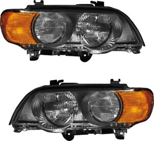 Headlights Headlight Assembly w bulb Amber Signal Set Pair For 00 03 Bmw X5