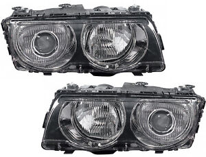 Hid Xenon Headlights Headlamps black Pair Set New For 99 01 Bmw E38 7 Series