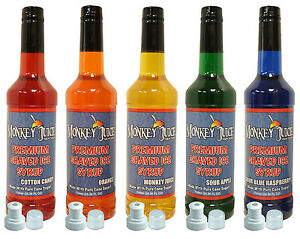 5 Bottles Of Snowcone Syrup Made With Pure Cane Sugar
