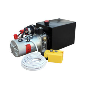 8 Quart Single Acting Hydraulic Pump 12v Power Unit 3200 Psi Remote Controller