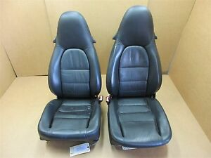 01 Carrera 911 Porsche 996 Cabrio L R Front Black Leather 12 Way Seats 73 422