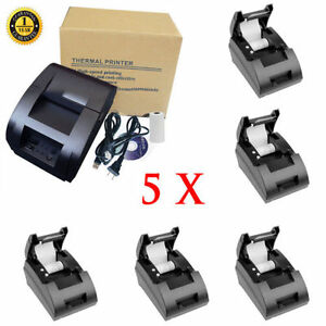 Lot5 12v Usb Mini 58mm Pos esc Thermal Dot Receipt Printer 384 Line W roll Paper