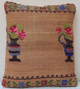 17 X21 Needlepoint Tapestry Aubusson Kilim Pillow Cover Weave Hadmade Cushion