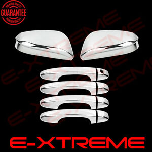 For 2013 2016 2017 Toyota Rav4 Door Handle Mirrors W O Signal Chrome Cover Combo