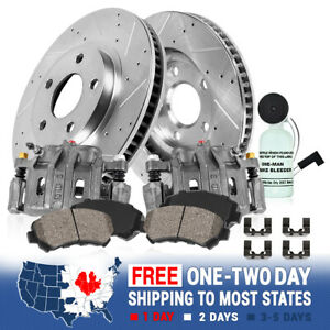 Rear Brake Calipers And Drilled Slotted Rotors Ceramic Pads Pair Set Kit For