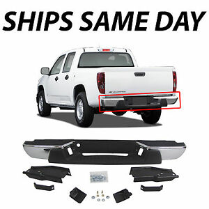 Complete Chrome Rear Steel Bumper For 2004 2007 Chevy Colorado Gmc Canyon Pickup