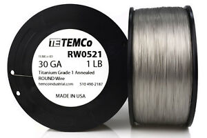 Temco Titanium Wire 30 Gauge 1 Lb 6507 Ft Surgical Grade 1 Resistance Awg Ga