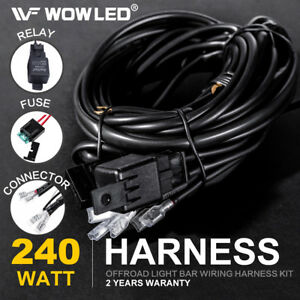 12v Led Work Light Bar Wiring Harness Loom Control 2 Lights Relay Kit Off Road