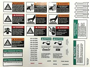 Champion P10157a Master Decal Set Air Compressor Parts