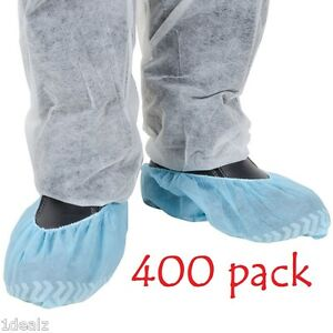 New Blue Shoe Covers Disposable Anti Skid Large 400 Pcs Polypropylene Free Fedx