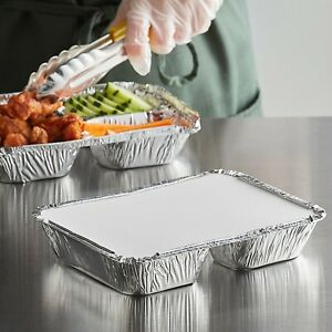 250 Sets Oblong Aluminum Foil Take out Pan Container Tins W board Lid 2 1 4 Lb