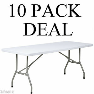 10 Pack 30 x 72 Granite White Plastic Folding Table Banquet Table rebate
