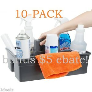 10pk Rubber Janitorial Maid 3 Compartment Gray Janitor Caddy 16 X 11 X 6 3 4