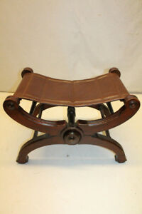 Unique American Victorian Cherry Leather Seat Folding Bench New Upholstery