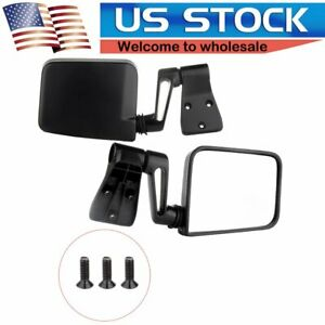 Black Manual Passenger Driver Side View Door Mirrors For87 02 Jeep Wrangler Pair