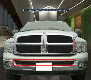 Fits 2002 2005 Dodge Ram 1500 2500 3500 Black Stainless Mesh Grille Grill Bumper