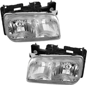 Headlights Headlamps Assembly Pair Set For 1999 2000 Cadillac Escalade
