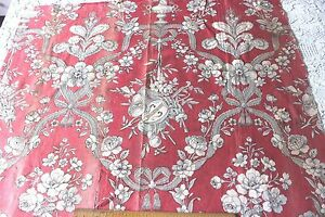 French Antique C1870 Floral Red Toile Cotton Fabric L 27 X W 30