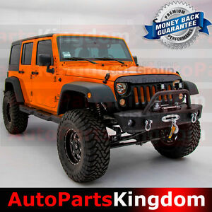 Jk Front Bumper With Oe Fog Light Holes Winch Plate For 07 18 Jeep Wrangler