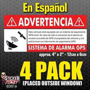 Gps 4 Pk Spanish Anti Theft Stickers Vehicle Security Vinyl Alarm Decal Espanol