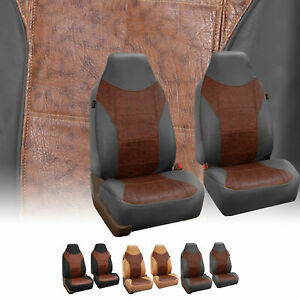 Faux Leather Highback Front Bukcet Seat Covers For Auto Car Suv Van 3 Colors