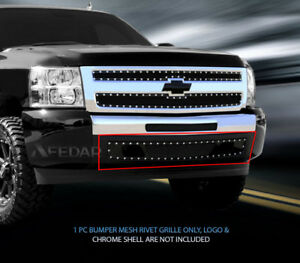 Black Mesh Grille Rivet Grill Bumper For Chevy Silverado 1500 2007 2013