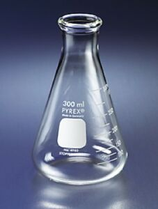 Pyrex 125ml Narrow Mouth Erlenmeyer Flasks With Heavy Duty Rim case Of 48