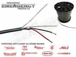 Strobe Cable 3 Wire 18 Awg Shielded For Amp Power Supply Whelen Federal Signal